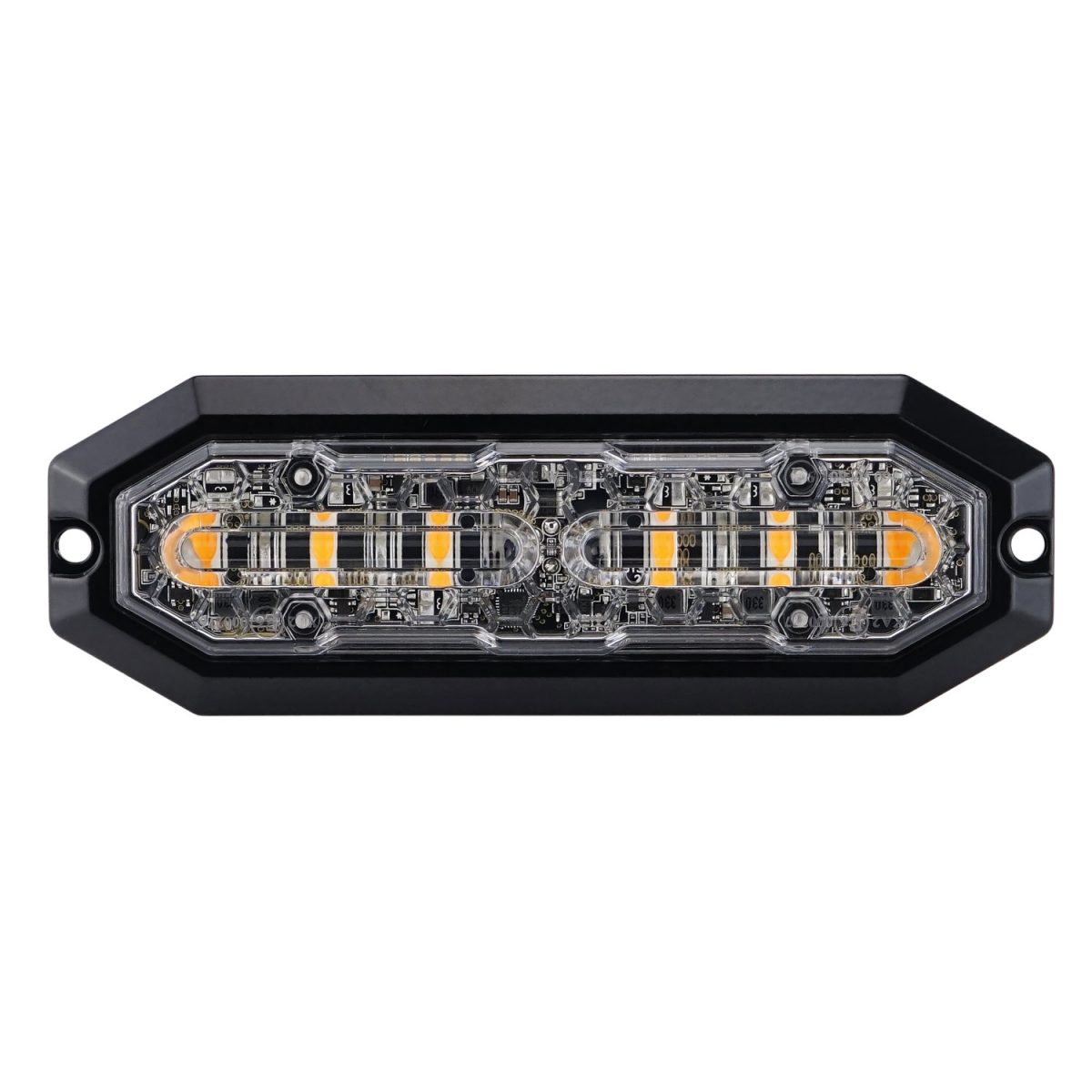 Strands Blixtljus 6 LED, 12-24V DC, 20W Orange LED, klar lins